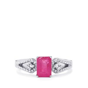 Ilakaka Hot Pink Sapphire Ring with White Topaz in Sterling Silver 1.44cts (F)