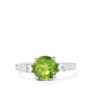 Changbai Peridot Ring with White Topaz in Sterling Silver 2.29cts