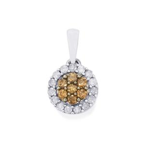 Champagne Diamond Pendant with White Diamond in Sterling Silver 0.50ct