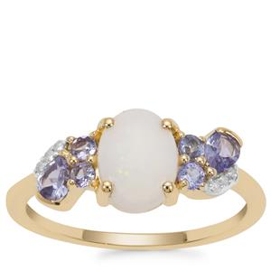 Coober Pedy Opal, Tanzanite Ring with Diamond in 9K Gold 1.17cts
