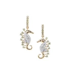 Alexandrite, Black Spinel Sea Horse Earrings with White Zircon in 9K Gold 1.35cts
