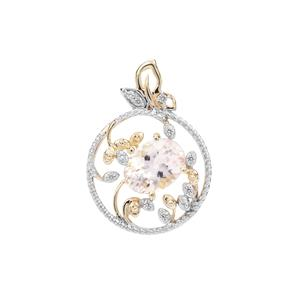 Nigerian Morganite Pendant with White Zircon in 9K Gold 1.10cts