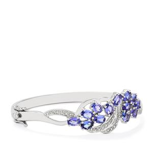 AA Tanzanite Oval Bangle with Diamond in Sterling Silver 5.94cts