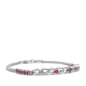 Rainbow Sapphire Bracelet with White Zircon in Sterling Silver 2.56cts