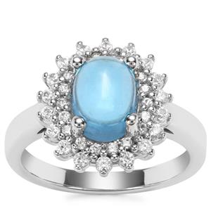 Swiss Blue Topaz Ring with White Zircon in Sterling Silver 3.26cts