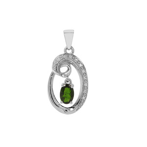 Chrome Diopside & White Zircon Sterling Silver Pendant ATGW 0.85cts