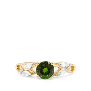 Chrome Diopside & White Zircon 9K Gold Ring ATGW 1.34cts