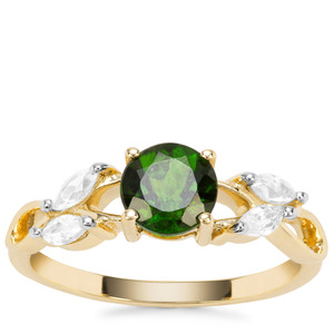 Chrome Diopside Ring with White Zircon in 9K Gold 1.34cts