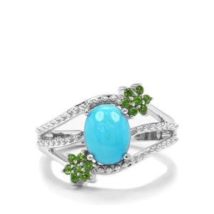 Sleeping Beauty Turquoise & Chrome Diopside Sterling Silver Ring ATGW 1.80cts