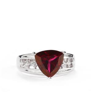 4.04cts Mystic Crimson Red Topaz Sterling Silver Ring