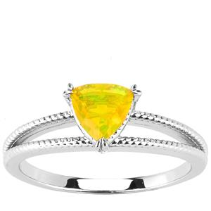 0.45ct Ethiopian Yellow Opal Sterling Silver Ring