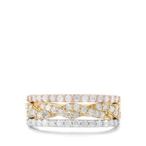 3/4ct Diamond 9K Three Tone Gold Tomas Rae Ring