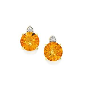 Lehrer QuasarCut Madeira Citrine & Diamond 9K Gold Earrings ATGW 3.09cts