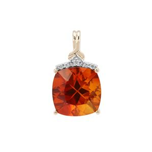 Madeira Citrine Pendant with White Zircon in 9K Gold 2.67cts
