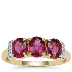 Comeria Garnet Ring with White Zircon in 9K Gold 2.41cts