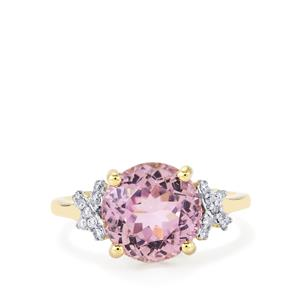 Mawi Kunzite Ring with Diamond in 14K Gold 5.04cts