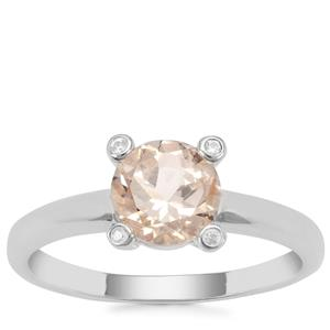 Champagne Danburite Ring with White Zircon in Sterling Silver 1.28cts