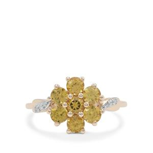 Mansanite™ Ring with Diamond in 9K Gold 1.40cts