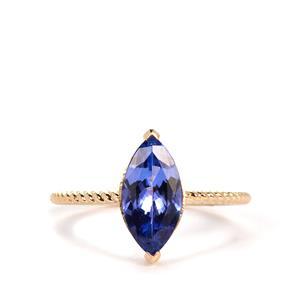 1.78ct AAA Tanzanite 9K Gold Ring