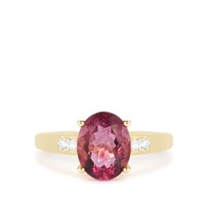 Natural Pink Fluorite Ring with White Zircon in 9K Gold 3cts