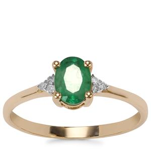 Bahia Emerald Ring with Diamond in 9K Gold 0.59ct