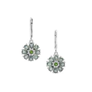 Natural Umba Sapphire Earrings with Chrome Diopside in Sterling Silver 4.19cts