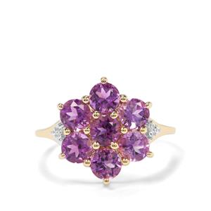 Moroccan Amethyst & White Zircon 9K Gold Ring ATGW 2.30cts