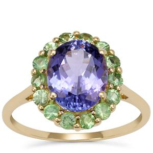 AA Tanzanite Ring with Tsavorite Garnet in 9K Gold 3.40cts