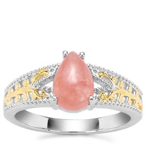 Rhodochrosite Ring in Two Tone Gold Plated Sterling Silver 1.70cts