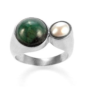 Emerald Sarah Bennett Ring with Kaori Cultured Pearl in Sterling Silver