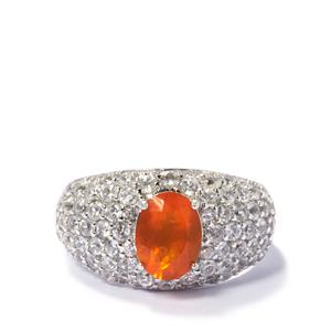 Fire Opal Ring with White Zircon in Sterling Silver 3.07cts