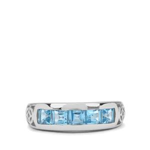 1.34ct Swiss Blue Topaz Sterling Silver Ring