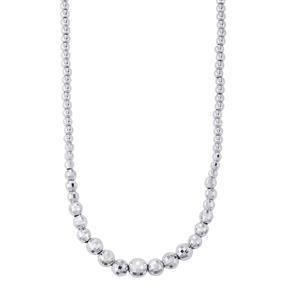 "18"" Diamond Cut Disco Ball Graduate Necklace in Sterling Silver 18.69g"