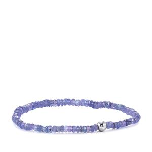 Tanzanite Stretchable Graduated Bead Bracelet in with Silver Ball 27.50cts