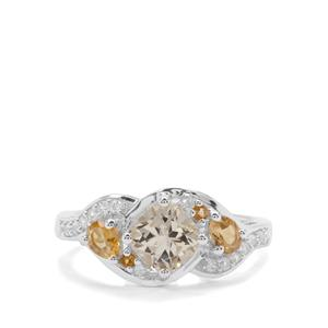 Serenite, Diamantina Citrine Ring with White Zircon in Sterling Silver 1.60cts