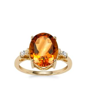 Diamantina Citrine Ring with White Zircon in 10K Gold 4.30cts