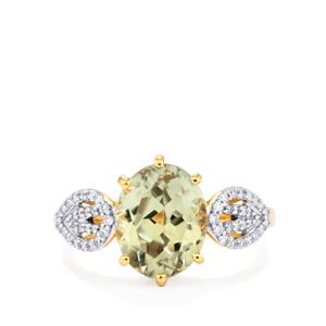 Csarite® Ring with Diamond in 18K Gold 3.49cts