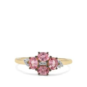 Mozambique Pink Spinel Ring with White Zircon in 9K Gold 0.79ct