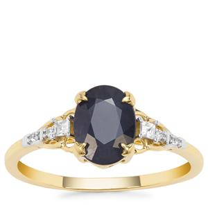 Kanchanaburi Sapphire Ring with White Zircon in 9K Gold 1.72cts