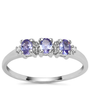 AA Tanzanite Ring Diamond in Sterling Silver 0.48cts