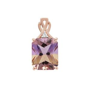 Anahi Ametrine Pendant with White Zircon in 9K Rose Gold 4.93cts