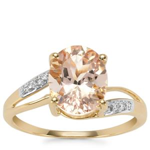 Alto Ligonha Morganite Ring with Diamond in 10k Gold 2.25cts
