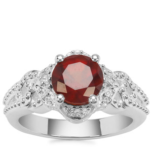 Gooseberry Grossular Garnet Ring with White Zircon in Sterling Silver 2.38cts