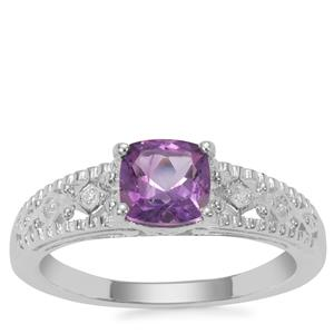 Moroccan Amethyst Ring with White Zircon in Sterling Silver 0.91ct