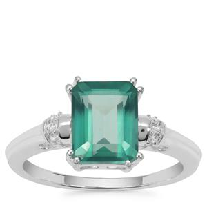 Fern Green Topaz Ring with White Zircon in Sterling Silver 3.37cts