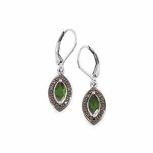 Chrome Diopside Earrings with Green Diamond in Sterling Silver 1.15cts