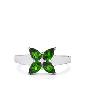 Chrome Diopside Ring with Zircon in Sterling Silver 1.54cts