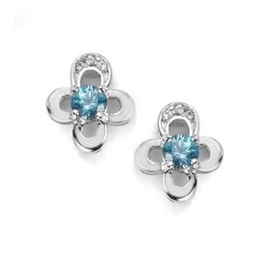 Ratanakiri Blue Zircon Earrings with White Topaz in Sterling Silver 1.37cts