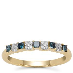 Blue Diamond Ring with White Diamond in 9K Gold 0.34ct