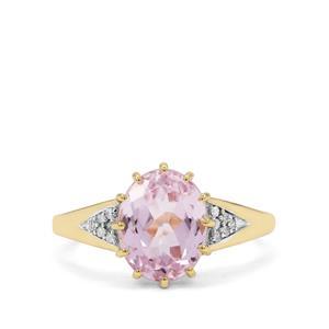Minas Gerais Kunzite Ring with Diamond in 9K Gold 3.55cts